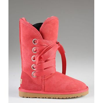 LFMON UGG 5818 Tall Lace-Up Women Fashion Casual Wool Winter Snow Boots Red