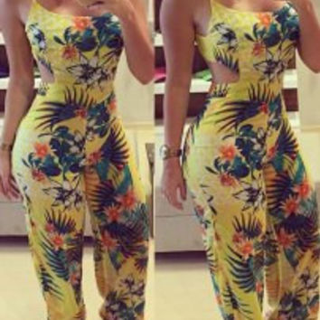 Floral Printed Strappy Backless Jumpsuit