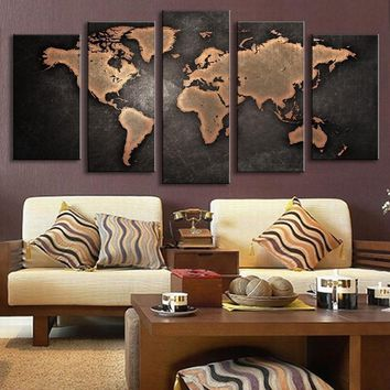 5 Pieces Map of The World Landscape Large Size Beautiful HD Modern Home Wall Decor Abstract Canvas Print Oil Painting Wall Art P