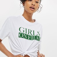 'Girls on Film' Slogan Cropped Top by And Finally | Topshop