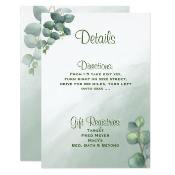Eucalyptus Watercolor Wedding Details Card