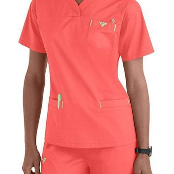 Med Couture Sport Crossover V-neck Scrub Top & Signature Pant Set