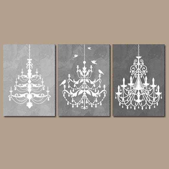 Bathroom Art Grey: CHANDELIER Wall Art Canvas Or Prints Gray From TRM Design