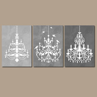 CHANDELIER Wall Art Canvas or Prints Gray Watercolor Wall Art Ombre Bathroom Wall Art  Bedroom Decor Bathroom Picture Set of 3 Nursery Decor