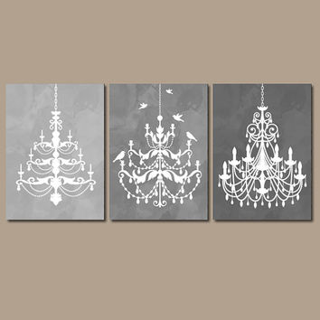 Chandelier Wall Art Canvas Or Prints Gray Watercolor Ombre Bathroom