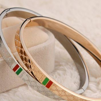 Gucci   Plated 18k Rose Gold Titanium Steel High   End Quality Diamond   Shaped Red   Green Bracelet.