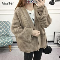 Women Chunky Knitted Cardigan Plus Size Women Clothing Casual Loose Thick Batwing Cardigans Spring Autumn Oversized Sweater Coat