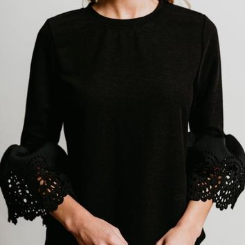 Black Cut Out Round Neck Bell Sleeve Pullover Sweater