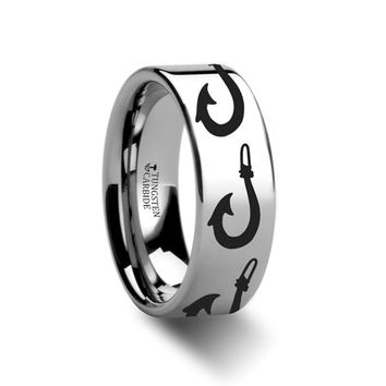 Sea Pattern - Large Polynesian Fishing Hook - Sea Print Ring - Laser Engraved - Flat Tungsten Ring - 4mm - 6mm - 8mm - 10mm - 12mm