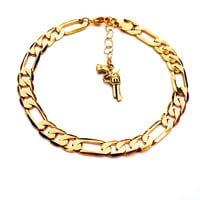 Figaro Chain Anklet with Gun Charm