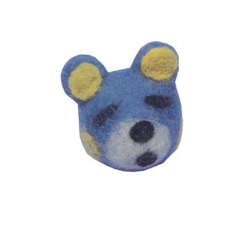 "Eco-Family Rattle Ball Handmade Felted Natural Wool 2"" Diameter Cat and Puppy Toy Ball Dog '"