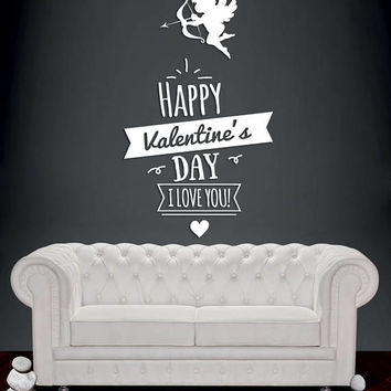 "Happy Valentine's Day Wall Decal, ""I Love You"" Wall Sticker, Valentine's Day Wall Decor, Love Day Angels Quote Wall Art Mural Decal se108"