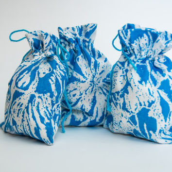 Blue Small gift bags, cotton sachets, reusable  bag, fabric favor bags, Gift Bag, Baby Shower, Birthday Party, blue Gift Wrapping  /Set of 2