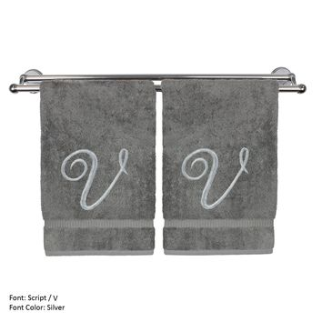 Monogrammed Hand Towel, Personalized Gift, 16 x 30 Inches - Set of 2 - Silver Embroidered Towel - Extra Absorbent 100% Turkish Cotton- Soft Terry Finish - For Bathroom, Kitchen and Spa- Script V Gray