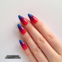 Neon ombre gradient stiletto nails, Nail designs, Nail art, Nails, Stiletto nails, Acrylic nails, Pointy nails, Fake nails, False nails