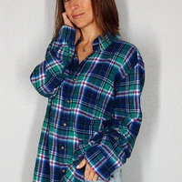 Vintage Flannel, Plaid Button Up 90s Grunge Green Blue 100% Cotton Comfy Oversize