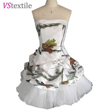 realtree white camo prom dresses short  2018 vestido de festa  camouflage cocktail party dress size 0 free shipping