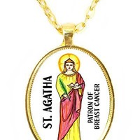 St Agatha Patron of Breast Cancer Huge 30x40mm Bright Gold Pendant