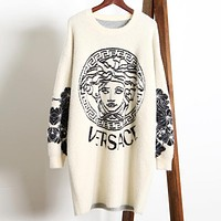 VERSACE Autumn Winter Newest Popular Women Loose Comfortable Imitated Mink Wool Long Sleeve Sweater Dress White