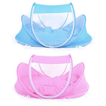 4pcs Set Baby Crib Sets Portable Folding Type Comfortable Infant Pad with Sealed Mosquito Net Baby Mosquito Net Baby Bedding
