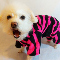 Roarrrr RockinDogs Hot Pink and Black Tiger Striped Fleece Pajamas for Dogs