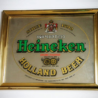 Vintage Industrial 1970s Heineken Mirrored Bar Sign / Home Decor / Vintage Signage / Brass Framed Wall Art / Collectible Bar Memorabilia