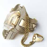 Thunderstruck Crystal Cuff - Brass | Spell & the Gypsy Collective