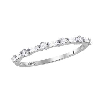10kt White Gold Womens Round Baguette Diamond Stackable Band Ring 1/3 Cttw
