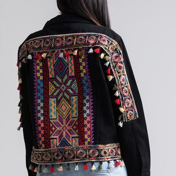 Long Sleeve Buttoned Front Embroidered Tassel Denim Jacket in Black