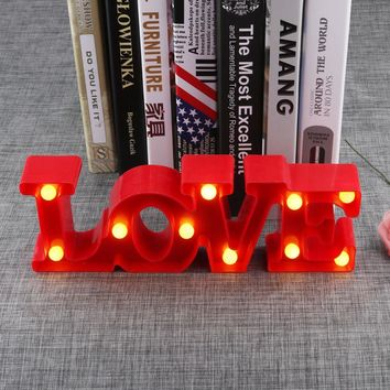 3D LOVE Letter Night Light Party Decoration Props Light Lamp Desktop Ornaments Lovers Gifts for Wedding Room Home Decor