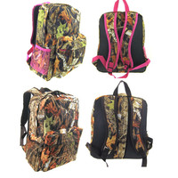 Kids camouflage pink and black camo backpacks book bags for back to school