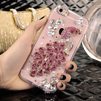 Crystal Peacock Phone Case for iPhone 7 7s for iphone 7 7s plus for iphone6 6s plus, for galaxy S6 S7 and more