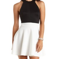 Color Block Halter Skater Dress