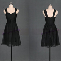 Short black chiffon bridesmaid dresses 2014,cheap knee length bridesmaid gowns hot,simple elegant women dress for wedding party.
