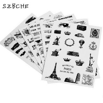 6sheets/set Retro seal pattern transparent diary scrapbooking decorative stickers Tower Hot Air Balloon  laptop sticker