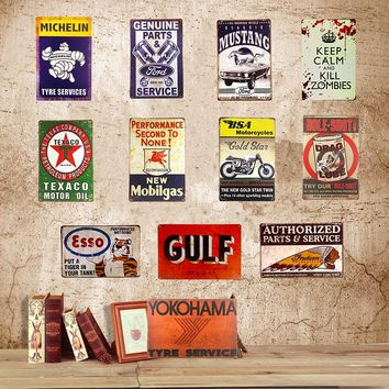 Vintage Tin sign American Gulf Mustang BSA Kill Zombies  Decorative Metal Art Poster iron Painting Bar Pub Wall Decor