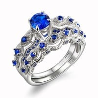 1.3 Ct Solid 925 Sterling Silver Wedding Ring Sets