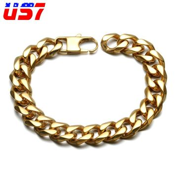 US7 Punk Style Stainless Steel Biker Bicycle Motorcycle Men Gold Bracelet Link Chain Cool Bracelets For Men Jewelry
