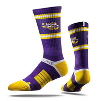 Strideline® 2.0 LSU Purple Tiger, Tiger Eye, Purple–Gold–White Crew Socks