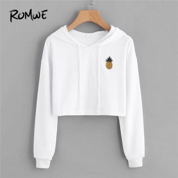 ROMWE Pineapple Patch Crop Hoodie White Clothes Autumn Long Sleeve Drawstring Streetwear Women Top Pullover Patched Sweatshirt