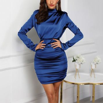 Turtleneck  Ruched Bodycon Dress Long Sleeve Chic Dress Party Mini Dress