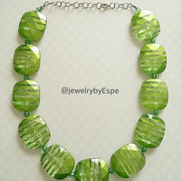 Green Necklace, Chunky Necklace, Statement Necklace, Bib Necklace, Bridesmaid Necklaces, Beaded Necklace, Bridesmaid Necklaces, Gifts Ideas