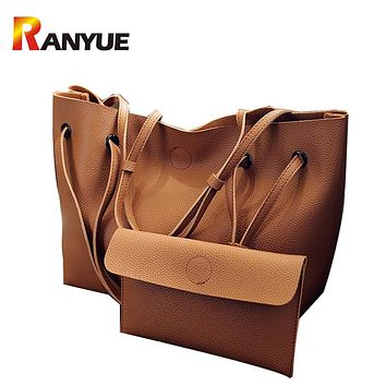 RANYUE 2 Set Women Composite Bag High Quality Pu Leather Shoulder Bag Large Capacity Tote Bags For Women Handbags Bolsa Feminina