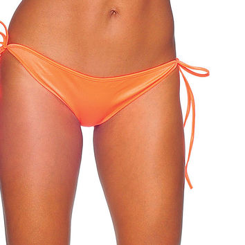 Pole Dancers Neon Orange Tie Side Scrunch Full Bottom