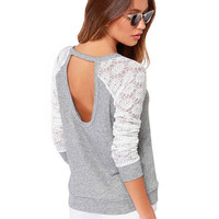 'The Kaley' Lace Long Sleeve Cut-Out Sweatshirt