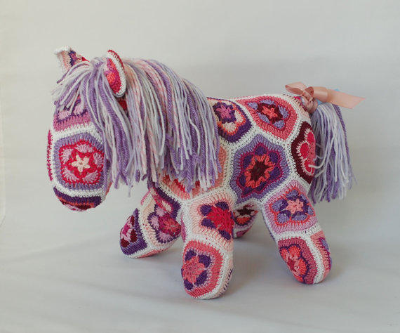 African Flower Crochet Horse Pink And From Zayalosya On Etsy