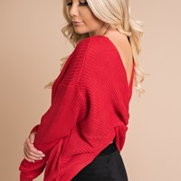 Left On Red Twist Back Sweater (Red)