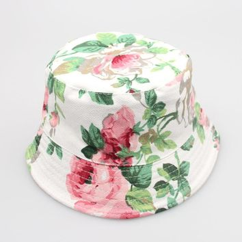 summer Kids Bucket Hat Sewing Floral print Baby Infant Toddler Cap Child, Boy, Girl Hat Sewing Pattern Cotton sunhat 2018