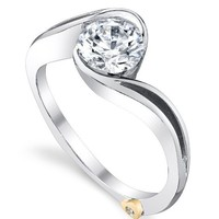 Mark Schneider Aerial Bypass Half Bezel Set Solitaire Diamond Engagement Ring