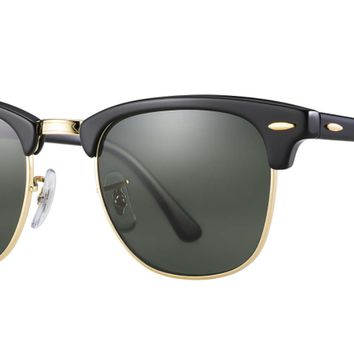 Authentic RAY-BAN Clubmaster 3016 - W0365 Sunglasses Black/ Green *NEW* 49mm